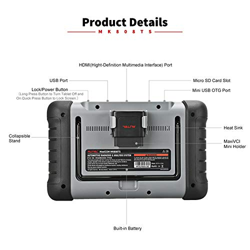 Autel MaxiCOM MK808TS Enhanced Diagnostic Scan Tool of MK808BT and MK808 with Complete TPMS Functions, Full Systems Diagnoses and Reset Services including EPB, BMS, SAS, DPF, Oil Reset IMMO Service et by Autel (Image #5)
