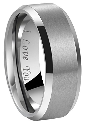 6 Mm Engraved Band - 4mm 6mm 8mm Tungsten Wedding Couple Bands Rings Men Women Matte Brushed Finish Center Engraved