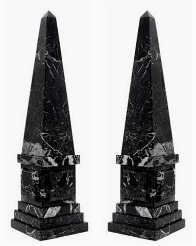 Khan Imports Decorative Black and White Marble Stone Obelisk Sculpture Staue, Set of 2 - Large, 20 Inch Tall ()