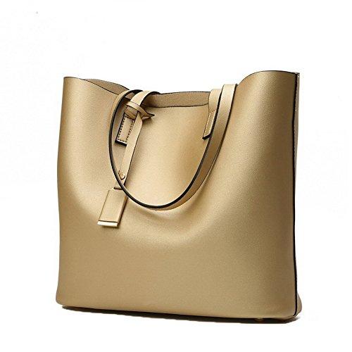 AalarDom Women's Casual Compras Pantalón Tote-Style Microfibra Bolsas de Mano Gold