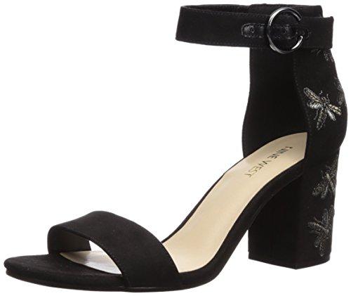 Nine West Women's Gangela Fabric Heeled Sandal, Black Black