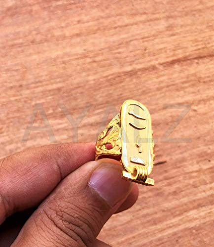 (Egyptian Personalized Customized 18k Solid Gold Cartouche Ring - Made By AYALZ (Up To 5 Letters) )