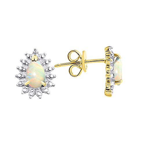 Diamond & Opal Pear Shape Earrings In 14K Yellow Gold