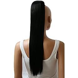 "PRTTYSHOP Hair Piece Pony Tail Extension Draw String Voluminous Curly Heat-Resisting 26"" cm black # 1 PH601"