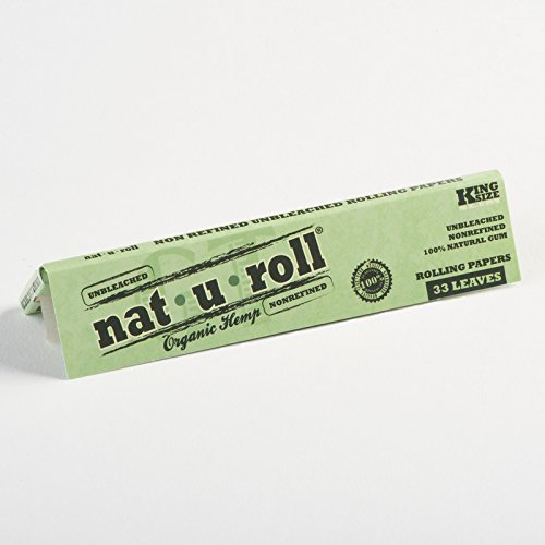 96 Pack Display Nat-U-Roll Organic Hemp King Size Rolling Paper + 1 XL  Beamer Doob Tube + Beamer Smoke Sticker