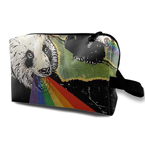 With Wristlet Cosmetic Bags Panda Eat Rainbow Travel Portable Makeup Bag Zipper Wallet Hangbag]()