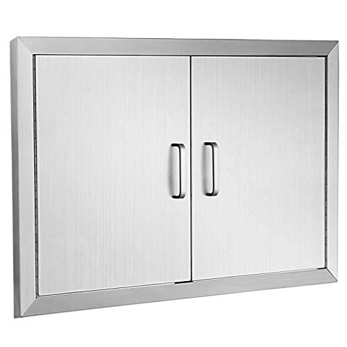 Happybuy BBQ Access Door Double Wall Construction Cutout 31W x 24H Inches Outdoor Kitchen Access Doors 304 Grade Brushed Stainless Steel Heavy Duty