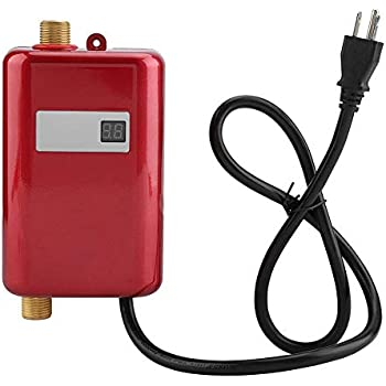 Water Heater, 110V 3000W Mini Electric Tankless Instant Hot Water Heater with LCD Display for Bathroom Kitchen Washing (US Plug)(Red)