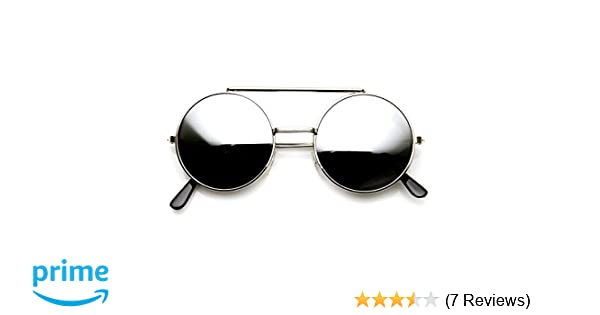5257af89a Amazon.com: Limited Edition Color Flip-Up Lens Round Circle Django  Sunglasses (Silver Mirror): Clothing