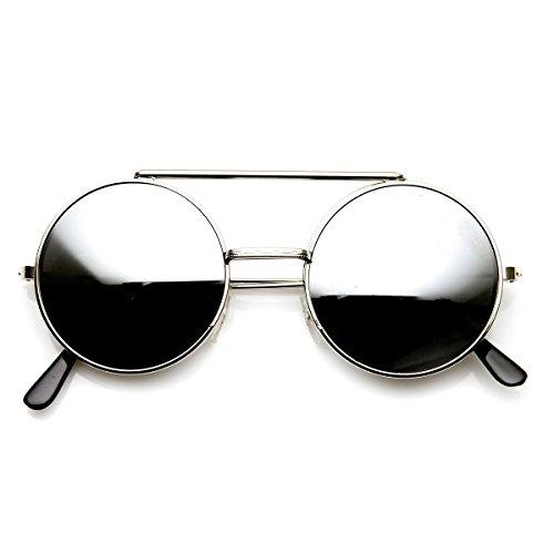 Limited Edition Color Flip-Up Lens Round Circle Django Sunglasses (Silver ()