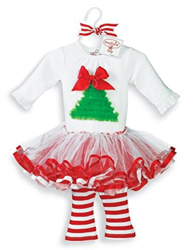 [Select Size: Baby Girl Christmas Holiday Tutu Dress Set by Mud Pie (12-18 Months)] (Sugar Plum Fairy Costume Ballet)