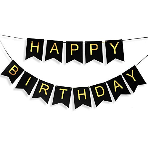 Black Birthday Banner with Gold Letters, Happy Birthday Bunting Banner for Kids or Adults, Swallowtail Flag Sign for Birthday Decoration, Party Supplies -