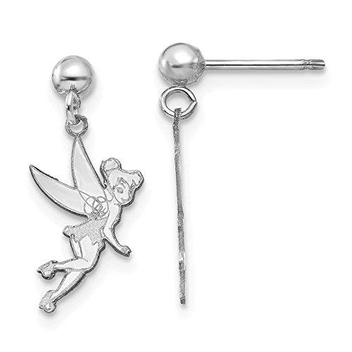 ICE CARATS 14k White Gold Disney Tinker Bell Drop Dangle Chandelier Post Stud Earrings Fine Jewelry Gift Set For Women (Disney Tinkerbell Earrings)