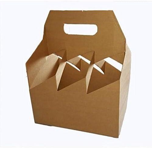 Caja de transporte para seis botellas de cartón fuerte - Admite 6 botellas de cerveza/vino/sidra/ale - Ideal para tiendas de vino/licorerías: Amazon.es: Hogar