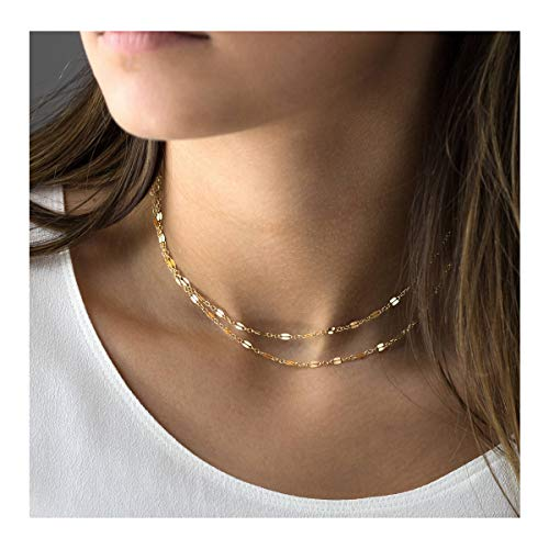 Mevecco Layered Plain Chain Choker Necklace,14K Gold Filled Long Thin Lip Cute Clavicle Chain Dainty Handmade Fashion Choker Necklace for Girls