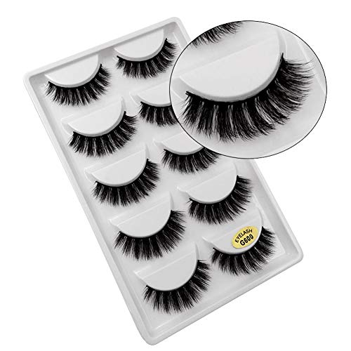 5pairs 3d Mink False Eyelashes Handmade Long Slender Fake Eyelashes False Eyewinker Parties Cosmetic Beauty Makeup Tool Kit False Eyelashes