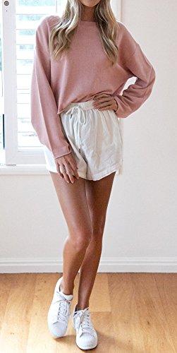 Rose Femmes et Fashion Unie Shirts Jumpers Tops Couleur Manches Court Printemps Longues Chemisiers Rond Automne Pulls T Col Shirts Blouses Hauts Sweat wf1qgqp