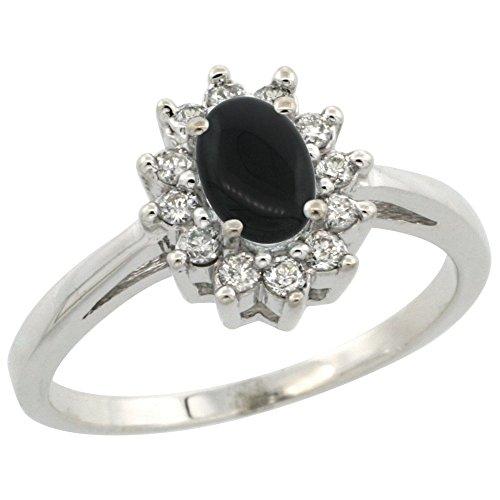 (10K White Gold Natural Black Onyx Flower Diamond Halo Ring Oval 6x4 mm, size 6)