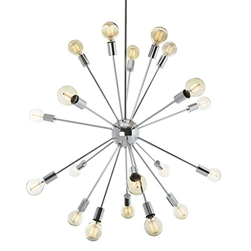 Cheap  20-Light Chrome Sputnik Pendant, Large Hanging Chandelier Fixture, ETL Listed