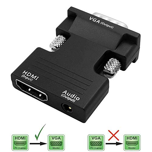 ANMAIKER Female HDMI to VGA Male Converter Adapter 1080P Stereo Audio for TVs, Speakers, Computers, Laptops, Gaming Consoles, Notebooks, Blu-ray DVD Players & More(Black)
