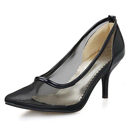 VogueZone009 Damen Soft Leder Ziehen auf Spitz Zehe Stiletto Rein Pumps Schuhe Schwarz