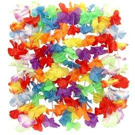 Charmed 36 Counts Tropical Hawaiian Luau rainbow Flower Lei Party Favors (3 Dozen) Dozen Lei