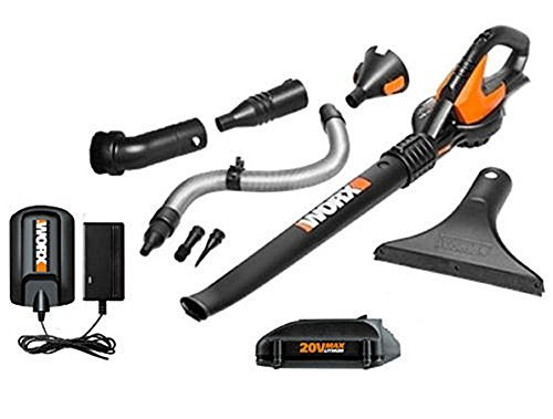 Worx 20V Max Lithium Blower/Sweeper with 8 Attachments + 4.0 Battery For Sale
