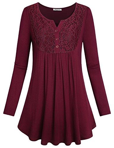 Ruffled Tunic Blouse - SeSe Code Flowy Blouse Women Burgundy Latest Fashion Top Novelty Shirts Girly Clothes Flattering Basic Ruffled Layer Roomy Floating Swing Tunic Wine Red XXL Christmas
