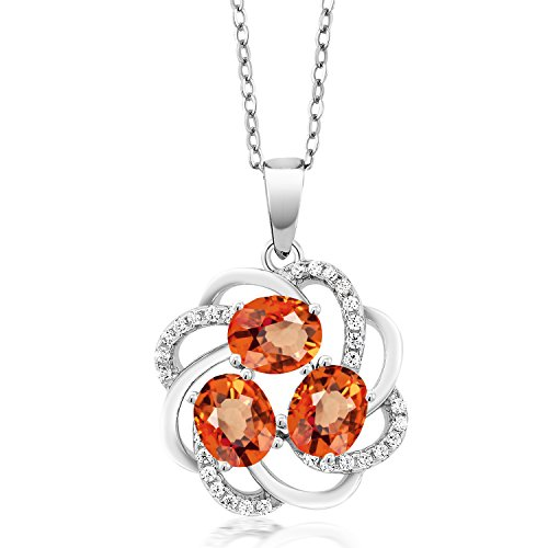 (Gem Stone King 2.00 Ct Oval Orange Sapphire 925 Sterling Silver Pendant)