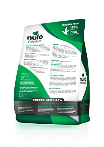 Picture of Nulo Freeze Dried Raw Dog Food For All Ages & Breeds: Natural Grain Free Formula With Ganedenbc30 Probiotics For Digestive & Immune Health - Duck Recipe With Pears - 13 Oz Bag