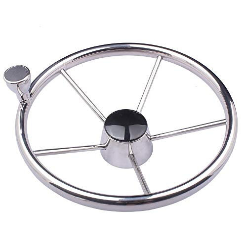 - Hoffen 5-Spoke 13-1/2 Inch Destroyer Style Stainless Steel Boat Steering Wheel with Knob Amarine-Made