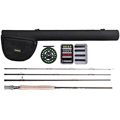 PLUSINNO Lightweight Ultra Portable Fly Fishing Rod and Reel Graphite Pole with Toray Carbon Fiber Blanks and Chromed Stainless Steel Snake Guides 4-Piece with Rod Case (5-6#) from PLUSINNO