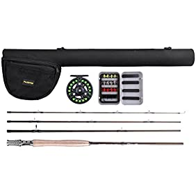 PLUSINNO Lightweight Ultra Portable Fly Fishing Rod and Reel Graphite Pole with Toray Carbon Fiber Blanks and Chromed Stainless Steel Snake Guides 4-Piece with Rod Case (5-6#)