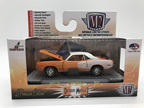 M2 Machines Detroit-Muscle 1971 Plymouth HEMI Cuda 1:64 Scale R34 16-05 Orange/White Details Like NO Other! Over 42 Parts 1 of 9800 ()
