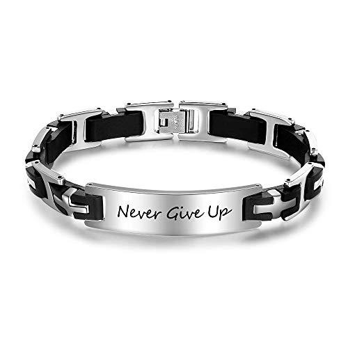 Lam Hub Fong Personalized Mens Engraved Bracelets Free Engraving Stainless Steel Name Bar Wrist ID Bracelet for Men (Cross Design)