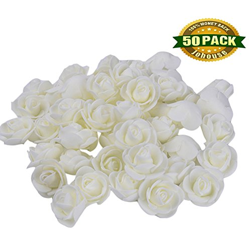 Fake Flower Heads, Mini Artificial Foam Rose Flower Head Fake Flowers for Vase Filler Wedding Decoration Bridal Shower Valentine's Day , 50 PCS (Ideas Winter Wreaths)