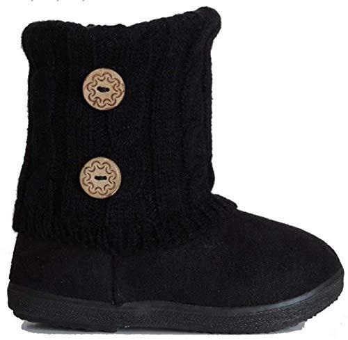 EyesOnStyle New Babys Girls Infant Kids Toddler Flat Winter Fur Boots Pom Pom Shoes Sz 2-8
