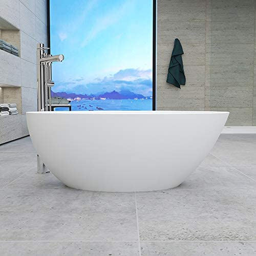 Vanity Art 55-Inch Freestanding White Acrylic Bathtub UPC certified Modern Stand Alone Soaking Tub with Polished Chrome Slotted Overflow Pop-up Drain – VA6834-S
