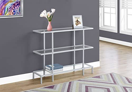 Monarch 42 L Tempered Glass Hall Console Accent Table, Silver