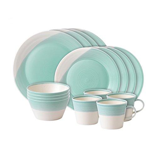 51 1815 Collection Plate/Tray/Bowl, 16 Piece Set, Aqua (Aqua Salad Bowl)