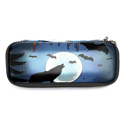 MAPOLO Halloween Howl Wolf Bat Pencil Case Pencil Bag Makeup Pouch Students Stationery Pen Holder for School/Office]()