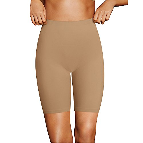 Flexees Women's Cover Your Bases Smoothing Slip Short, Beige, Medium -