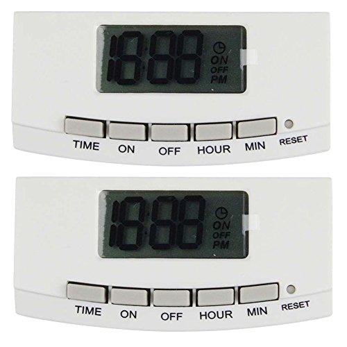 Defiant Automatic 15 Amp Digital 24-Hour Slim Fit Indoor Plug-In Timer (2-Pack) Tm-064 - WHITE