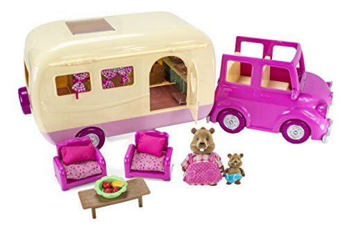 Li'l Woodzeez Happy Camper Playset with Car, Camper, and 38 Interactive Accessories from Li'l Woodzeez
