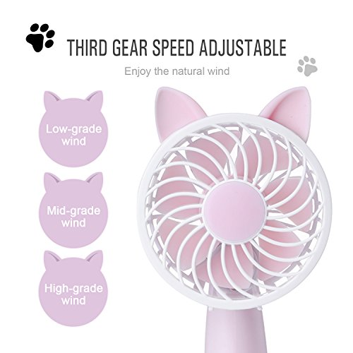 RioRand Rechargeable Handheld Fan with 7 Blades and 3 Power Settings Portable for Women Men Kids Cute Pink by RioRand (Image #2)