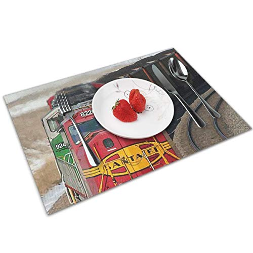 (LNUO-2 Placemats Set of 4 - Train Placemats 100% Polyester Woven Placemats Washable Decorative Heat Insulation Kitchen Table Mats)