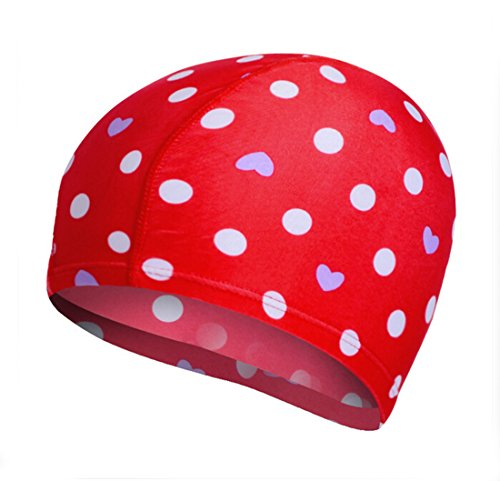 Red Ladies Candy Cap - Flyusa Candy Color Flower Print Swim Caps for Long Hair Cloth Fabric Hot Spring Headless Swimming Cap Bathing Hat for Unisex Men Women,Red Heart