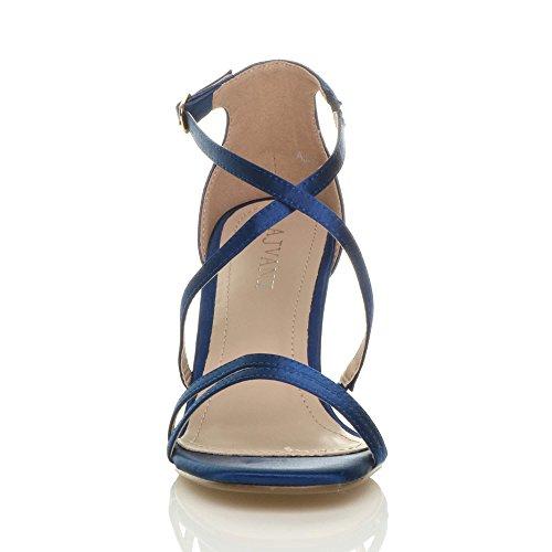 Shoes Navy High Satin Size Ajvani Heel Women Sandals a1xpzHq