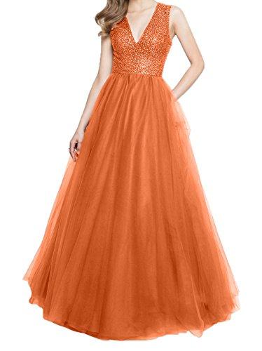 Promkleider Ballkleider Brautmutterkleider Abendkleider Charmant Ausschnitt Damen Orange Linie V A Gruen Steine Jaeger qxpz1qF