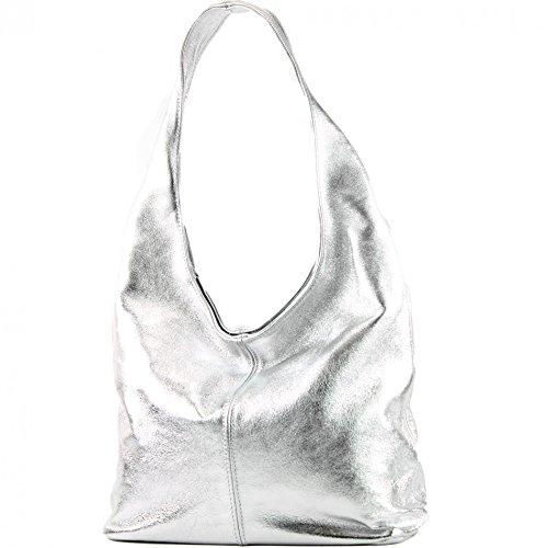 Cuero T150 Ital De Damentasche Bolso metallic Modamoda Hombro Wildleder Silber t0wq5v